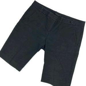Theory Bermuda Shorts Sz 12 Black Flat Front 35